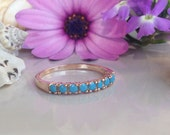 20% off-SALE!! Turquoise Ring - December Ring - Half Eternity Ring - Turquoise Jewelry - Prong Ring - Stack Ring - Slim Band -Simple Jewelry