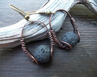 Minimalist Earrings Jewelry Metalwork Dainty Earrings Jewlery Earings Black Lava Rock Stone Earrings Volcanic Lava Earrings Copper Earings