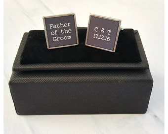 Father of the Groom square personalised wedding cufflinks - wedding date and initials