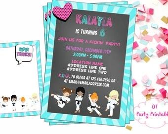 Karate Digital Invitation - Karate Birthday Party - Taekwondo Birthday Party - Ninja Invitation - You Print - Printable Invitation