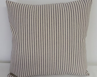 Blue ticking pillow cover, pillow cover, blue stripe pillow, 18 x 18 inch, Ticking blue stripe pillow, Pillow cover