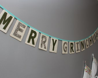 MERRY GRINCHMAS Banner/Holiday Sign/Christmas Mantle Deco