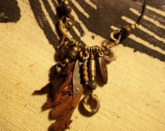 Tribal Necklace-Small Assemblage Necklace-Earthy Bohemian Necklace-Boho Jewelry-Tribal Jewelry