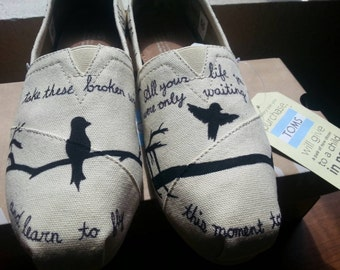 TOMS Bird Silhouette shoes with Beatles lyrics.
