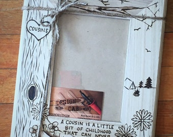 cousin wood burned frame 5x7 custom cousin gift personalized wood frame cousins frame christmas gift