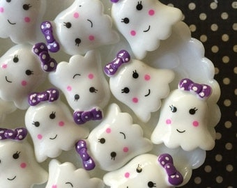 SALE - Girl Ghost Cabochons - Ghost Decoden Cabochons - Kawaii Cabochons