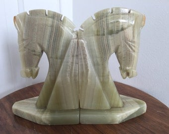 Green Onyx Horse Head Bookends Large MCM Mid Century Modern