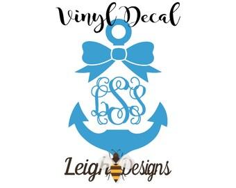 Anchor Car Decal Etsy - Anchor monogram car decal