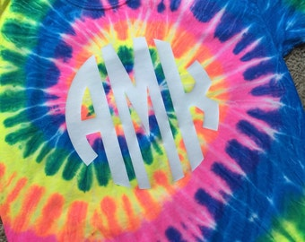Tie Dye Shirt with Vinyl Monogram for Youth and Adult--Short Sleeve or Long Sleeve--Neon Rainbow Tie Dye Shirt