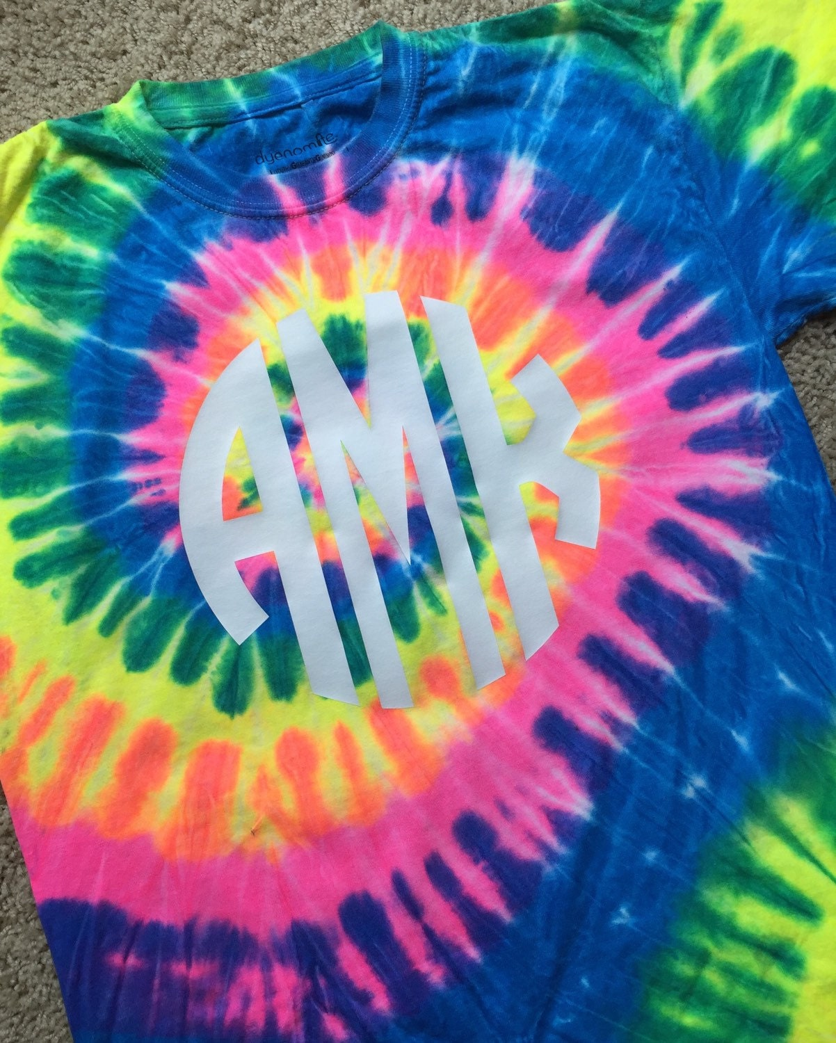 Tie Dye Shirt with Vinyl Monogram for Youth and AdultShort