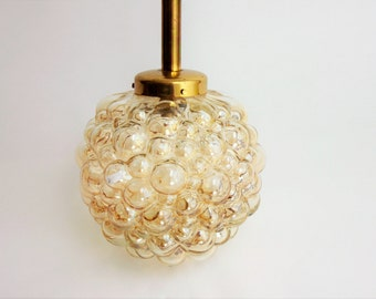 Vintage bubble pendant light by Helena Tynell for Limburg Glass amber color