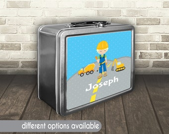 Construction Lunch Box,Construction Metal Lunchbox, Personalized Bulldozer Lunch box, Custom Dump Truck Lunch Box, Construction Kid Lunchbox