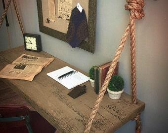 Industrial Floating Rope-Tied Suspended Wood Wall Desk - Floating Shelf Desk