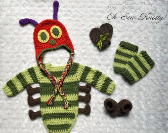 Long Sleeve Caterpillar-Inspired Handmade Baby Crochet set Photo Prop. Onesie Set. Hat, 6 Legged Onesie, Leg Warmers, Booties & Mitts