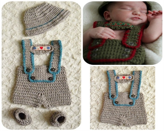 Handmade Lederhosen Crochet Baby Boy