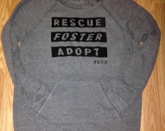 Rescue Foster Adopt Off the Shoulder Eco Fleece Sweatshirt / Adopt Don't Shop