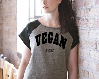 Eco Fleece Short Sleeve Gym Rat Pullover - VEGAN FTLA - For The Love of Animals