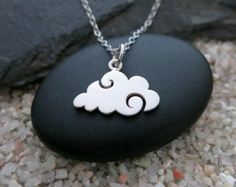 Cloud Necklace, Sterling Silver Cloud Charm, Cloud Jewelry