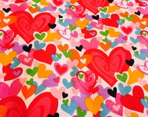 Heart Cotton Fabric, Valentines Cotton Fabric, Cotton Fabric, Love Cotton Fabric, Designer fabric, confetti Hearts Fabric