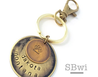 Pet name keychain or necklace in bronze