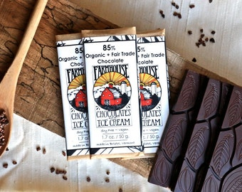85% Chocolate Bar (Vegan, Organic, Fair Trade, Dark Chocolate, Soy free, Holiday, Vermont, New England, Handmade, Gift, Treat)
