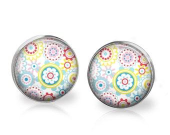 Flower Power Stud Back Glass Earrings