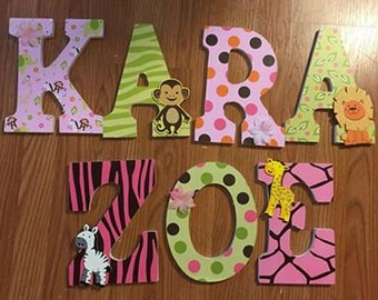 wall letters, jungle wall letters, safari, animal, Kara, girls room letters, baby room letters, hanging letters, custom letters, decorative