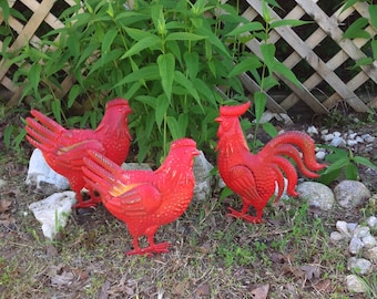 Chicken & Rooster Yard Stakes - Set of 3 Red Metal Yard Art - Cottage Chic French Country Kitsch