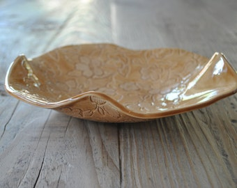 Caramel Laced Handmade Pottery Platter, Ceramic Plate, Serving Dish, Housewarming, Wedding Gift