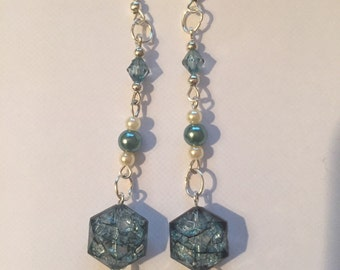 Dangle Earrings Blue and pearl white