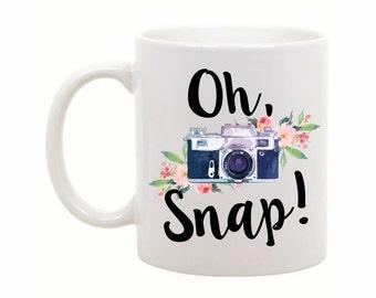 Photography Gift - Gift for Photographer - Photographer Gift - Photography Mug - Funny Coffee Mug - Oh Snap - Camera Mug - Camera Gift Idea