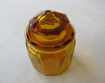 Antique 1940s Amber Glass Canister