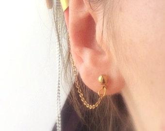 Gold Ear Cuff, Gold Chain Ear Cuff, Boho Earring, Gold Earring