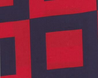 Silk Fabric, Red And Navy Fabric,Silk Twill, Designer Silk Fabric, Fabric Destash, 2 1/8 yard piece, ready to ship