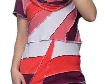Upcycled Short Sleeve Patchwork T-Shirt With Cowl Neck Medium