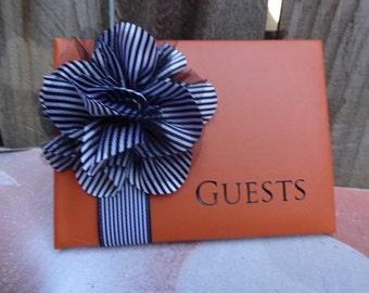 Classy Orange Guest Book
