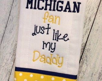 Embroidered Baby Infant Burp Cloth with Ribbon Trim -  University of Michigan