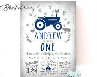Navy Blue Tractor Birthday Invitation / Farm Barn Birthday Invitation // Printable No.783KidsNavy