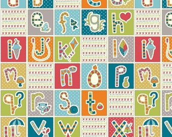 ABC Patchwork fabric by Birch 100% organic cotton fabric school print fabric from picnic whimsy line