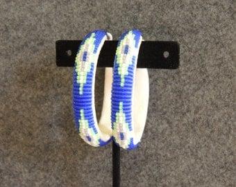 2 inch Beaded Hoop Earrings