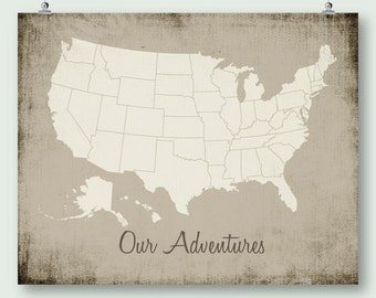 United States Map Push Pin Print Download Large Usa Map Distressed Rustic Wall Art Decor Jpg