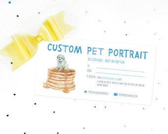 """Gift Certificate for Custom Pet Portrait ON FOOD! 8x10""""- Instant Download!"""