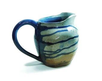 "Gray and Blue striped Pitcher Ewer Liter size Jug, ""Spring Melt"", Wheel Thrown Stoneware Quart ceramic"