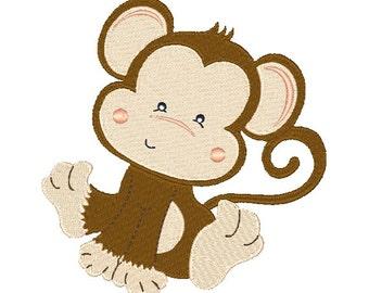 Monkey Machine Embroidery Design 062915 Embroidery Monkey Design Filled Stitch 4X4 5X7 8X8 6X10 Instant download