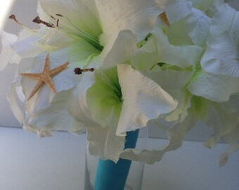 White Lily Bouquet-Beach Weding Bridal Bouquet-Summer Wedding-Lilies-Lily Bouquet-Starfish Bouquet-White Bouquet-White Lily-Summer Bouquet