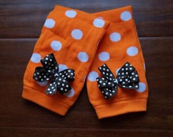Orange and Brown Polka Dot Legwarmers - Leggings, Leg Warmers, Fall, Thanksgiving, Halloween, Orange Polka Dot