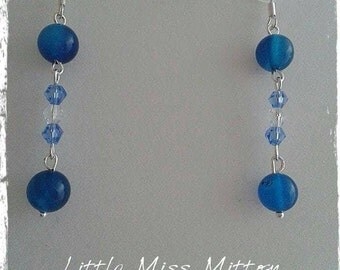 Blue Agate And Bicone Glass Beaded Dangle Silver Plated Earrings