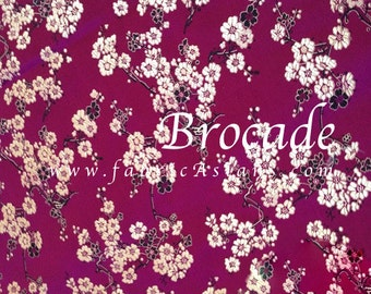 Magenta brocade fabric. Cherry Blossom. Chinese Brocade
