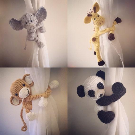 Curtain Tie Back Nursery Monkey Giraffe Panda By Niceandcosee
