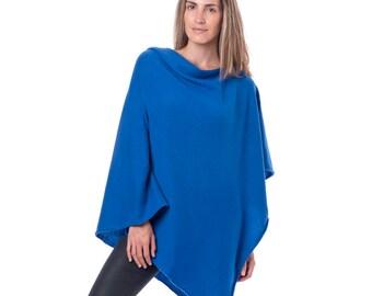 Cobalt Blue 100% Cashmere Poncho